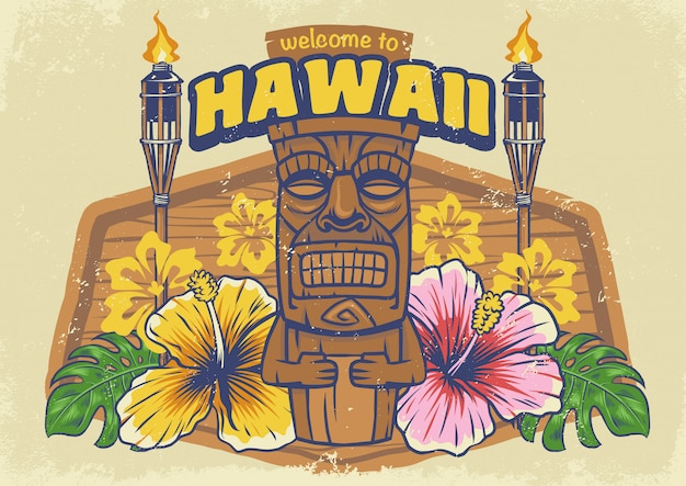 Tiki hawaii con textura vintage