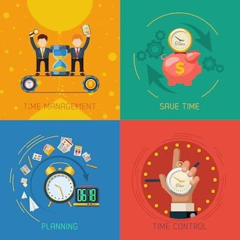 Time management flat icons square composición