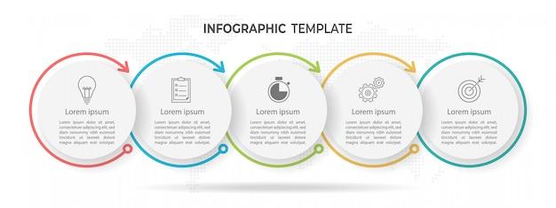 Timeline círculo infografía 5 opciones