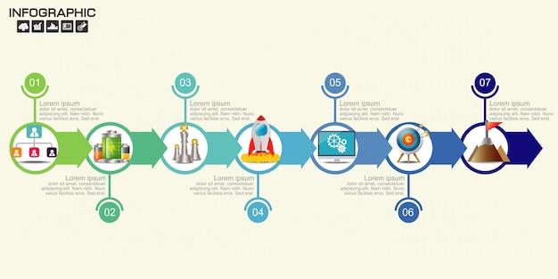 Timeline flecha infografía plantilla opciones.