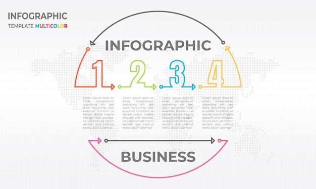 Timeline infografía círculo y número 4 opciones.