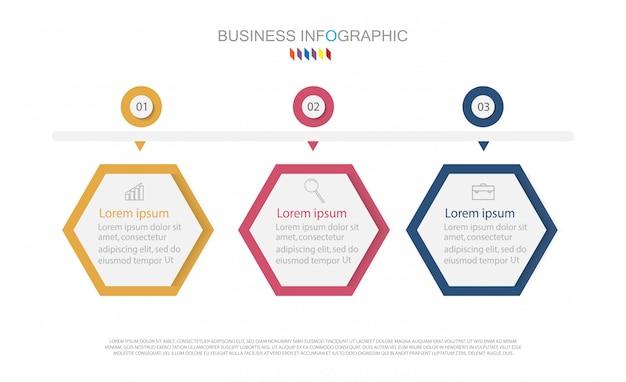 Timeline infografía diseño elemento y número de opciones. concepto de negocio con 3 pasos.