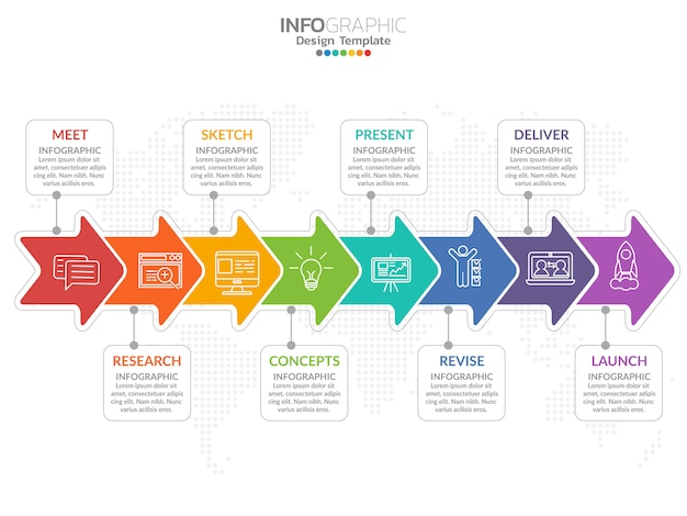 Timeline infografía diseño vectorial e iconos de marketing