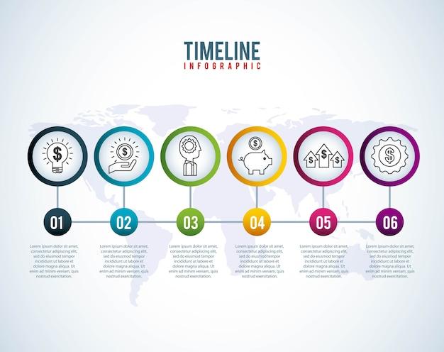 Timeline infographic world money ahorro financiero creatividad