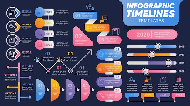 Timelines infografía plantillas para presentación