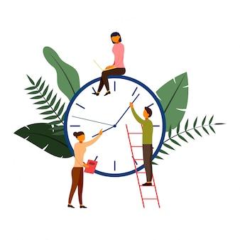 Times es dinero, negocio y concepto de gestión con ilustración de personajes.
