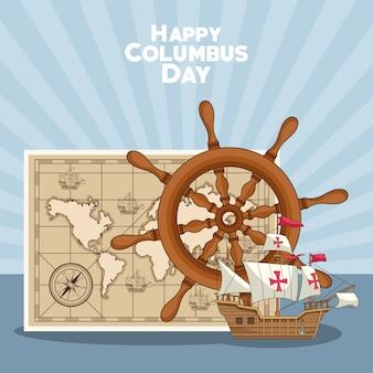 Timón de barco y diseño happy columbus day