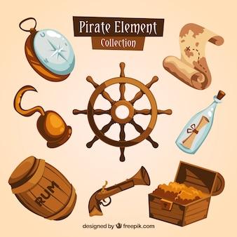 Timón y elementos de aventura pirata