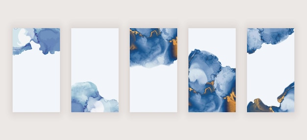 Tinta de alcohol acuarela azul para banners de historias de redes sociales.