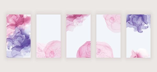 Tinta de alcohol de acuarela rosa y púrpura para banners de historias de redes sociales