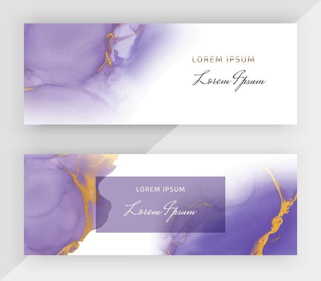 Tinta de alcohol púrpura con pancartas horizontales de brillo dorado para redes sociales