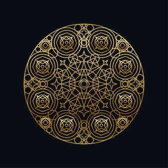 Tinta dorada mandala geométrica lineal