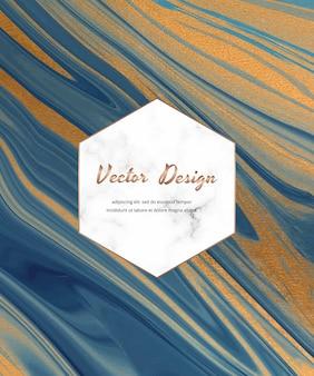 Tinta líquida azul con tarjeta abstracta de textura de brillo dorado.