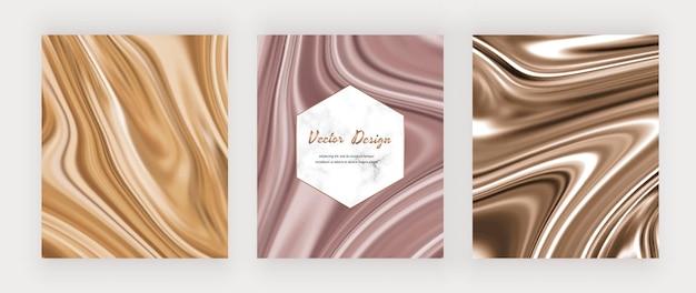 Tinta líquida nude y marrón con fondos de purpurina dorada y marco de mármol.