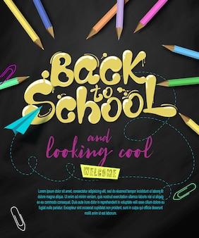 Tinta que fluye en forma de letras banner topográfico de regreso a la escuela con lápices