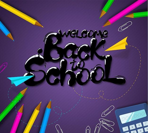 Tinta que fluye en forma de letras regreso a la escuela