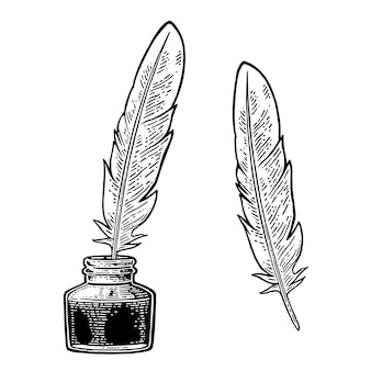 Tintero con ilustración de grabado de plumas