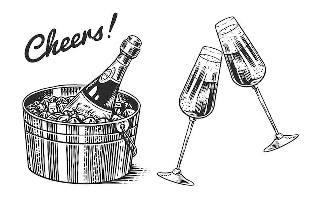 Tintineo de copas de champán aislado en blanco