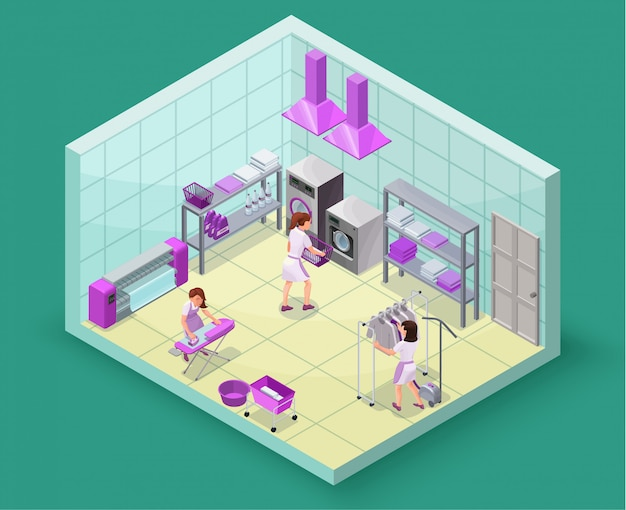 Tintorería o servicio de lavandería isométrica 3d ilustración