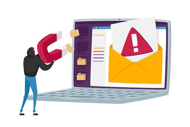 Tiny hacker character pirateando carpetas de documentos y datos personales desde la pantalla de la computadora portátil con un enorme imán