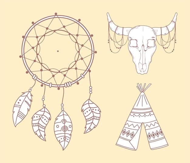 Tipi toro cráneo y atrapasueños boho e ilustración tribal