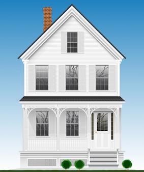Una típica y clásica casa americana realizada en madera pintada con pintura blanca. dos plantas, sótano y buhardilla. vista desde la fachada.