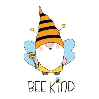 Tipo de abeja cute bee gnomes happy bee gnome vector dibujado a mano ilustración