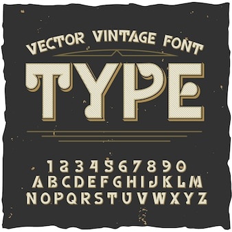 Tipo alfabeto con estilo vintage