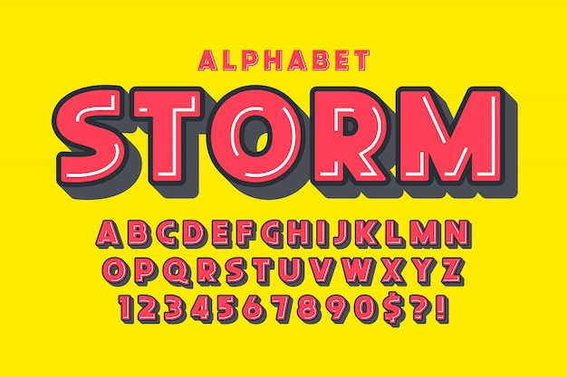 Tipo cómico burbuja extra negrita plana, alfabeto colorido