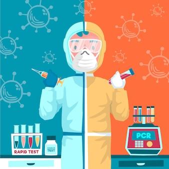 Tipo de concepto de prueba de coronavirus