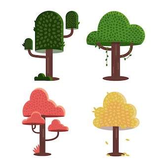 Tipo de diseño plano de árboles coloridos.