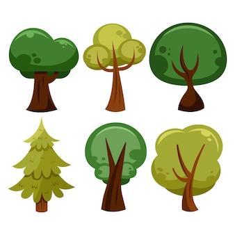 Tipo de diseño plano de árboles.