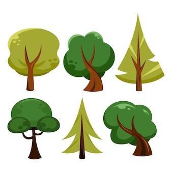 Tipo de diseño plano de colección de árboles.