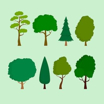 Tipo de diseño plano de conjunto de árboles.