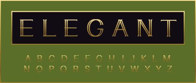 Tipo de fuente de lujo de belleza de alfabeto elegante dorado para título de elegancia cita de monograma premium de oro
