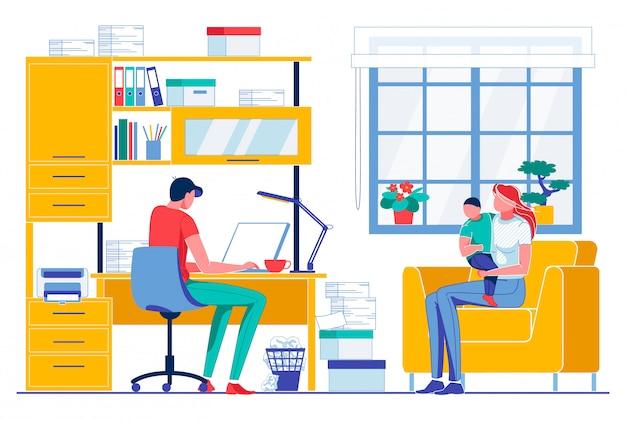 Tipo de hombre en cuaderno mujer con niño sentarse en el sofá