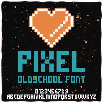 Tipo de letra del alfabeto vintage llamado pixel.