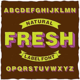 Tipo de letra de etiqueta de estilo de dibujos animados artesanal con efecto de volumen
