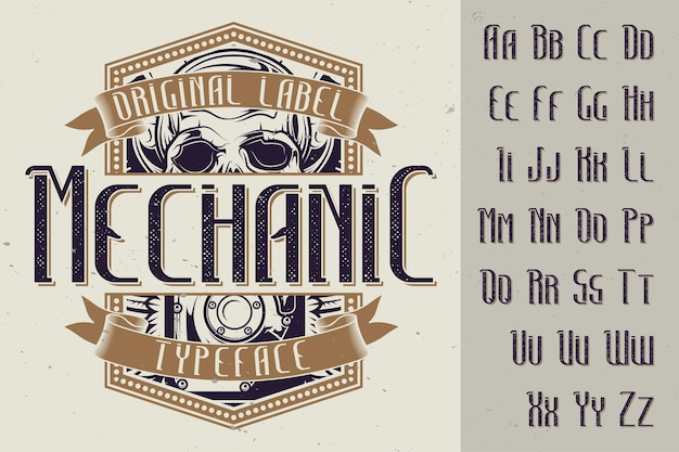 Tipo de letra de la etiqueta original denominada 'mechanic'. bueno para usar en cualquier diseño de etiqueta.