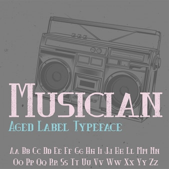 Tipo de letra de la etiqueta original llamada 'músico'. bueno para usar en cualquier diseño de etiqueta.