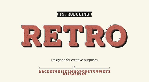 Tipo de letra retro. diseño tipográfico