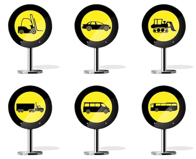 Tipo de medio de transporte. señal de advertencia de carretera amarilla
