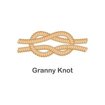 Tipo de nudo granny nudo náutico o marino para cuerda con lazo.