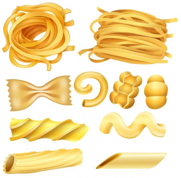 Tipo de pasta italiana en el fondo blanco