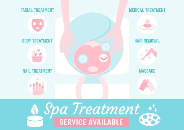 Tipo y servicios de tratamiento de spa de infografías