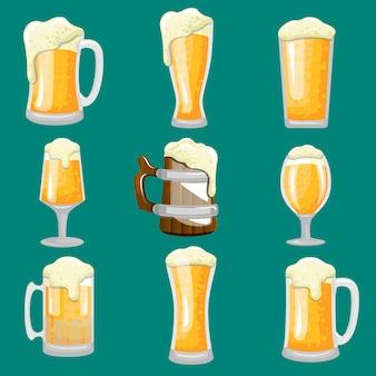 Tipo de vaso de cerveza stock vector set