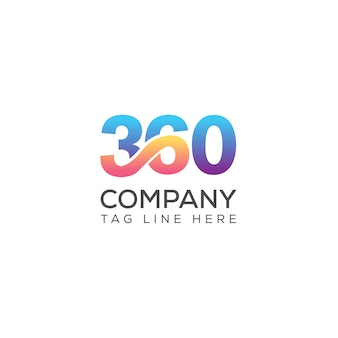 Tipografía de 360 medios vector logo templete