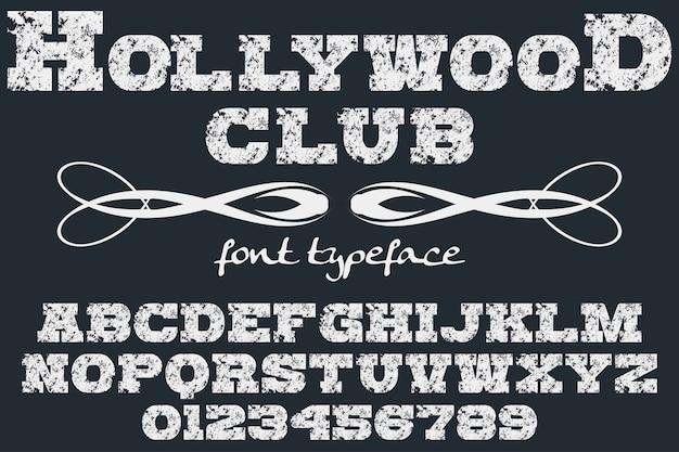 Tipografía alfabética estilo gráfico hollywood club