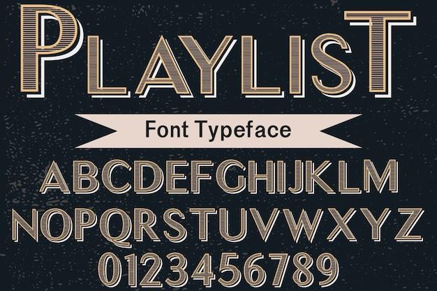 Tipografía alfabética estilo gráfico lista de reproducción