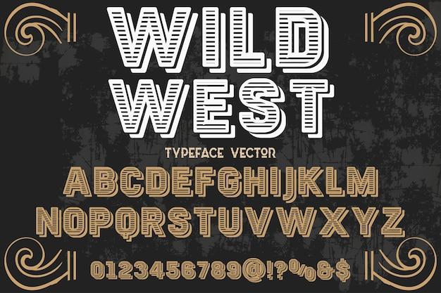 Tipografía alfabética estilo gráfico salvaje oeste